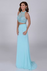 A-Line Jersey Crop Top Sleeveless Prom Dress With Keyhole Back And Crystal Bodice