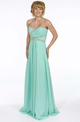 A-Line Sweetheart Long Ruched Sleeveless Chiffon Prom Dress With Beading