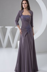 Strapless Chiffon Sheath Dress with Appliques and Bolero