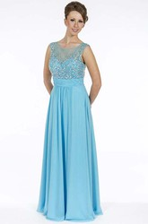 A-Line Beaded Sleeveless Long Scoop-Neck Chiffon Prom Dress With Pleats