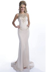 Column Jersey Sleeveless Form-Fitted Prom Dress With Jeweled Appliques And Keyhole Back