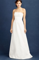 Sheath Strapless Floor-Length Sleeveless Satin Wedding Dress