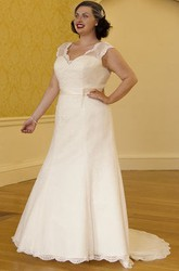 Scalloped V Neck Cap Sleeve Lace Bridal Gown With Satin Sash