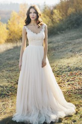 Tulle Sleeveless Illusion Bateau Neck And Illusion Back Wedding Dress With Lace Detailed Top