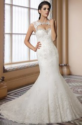 Cap Sleeve Mermaid Lace Wedding Dress with Chapel Train and Keyhole Back