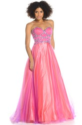 A-Line Beaded Sweetheart Sleeveless Floor-Length Tulle&Satin Prom Dress With Ruching