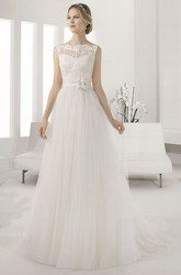 Bateau Sleeveless A-line Pleated Tulle Gown With Lace Top And Waist Flower
