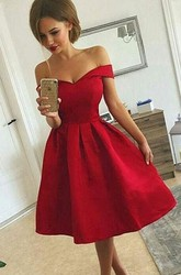 A-line Tea-length Sleeveless Off-the-shoulder Ruching Satin Homecoming Dress