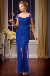 Cap-Sleeved Square-Neck Mother Of The Bride Dress With Front Slit And Sequins