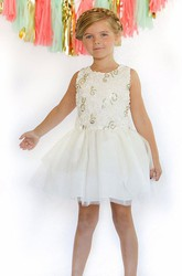 Embroideried Knee-Length Floral Tulle&Sequins Flower Girl Dress With Ribbon