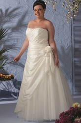 Strapless Lace-up Taffeta Wrapped Bridal Gown With Flower And Tulle Skirt