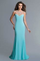 Sheath Floor-Length Jersey Illusion Dress With Beading