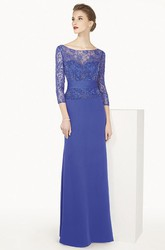 Bateau 3-4 Sleeve Long Prom Dress With Lace Top And Back Keyhole