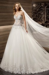Sweetheart Brush-train A-line Wedding Dress with Beaded Illusion Corset