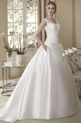 Ball Gown Sleeveless V-Neck Floor-Length Appliqued Satin Wedding Dress