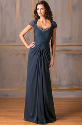 Cap-Sleeved Square-Neck Long Mother Of The Bride Dress With Beadings And Ruches