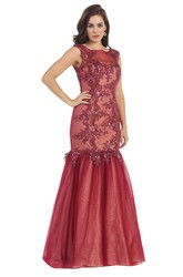 Trumpet Bateau Sleeveless Tulle Illusion Dress With Appliques And Sequins