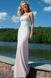 Sheath Floor-Length Strapped Sleeveless Beaded Chiffon Prom Dress With Appliques