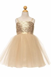Knee-Length Spaghetti Tulle&Sequins Flower Girl Dress