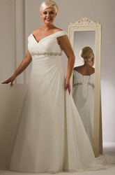 Plus Size Off Shoulder Lace Up Bridal Gown With Crystal Empire Waist