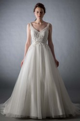 V-Neck Floor-Length Beaded Tulle Wedding Dress With Court Train And V Back