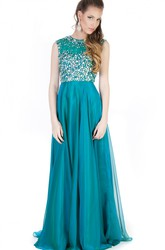 A-Line Beaded High-Neck Maxi Sleeveless Evening Dress With Pleats