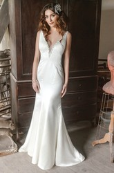 Long V-Neck Beaded Satin Wedding Dress With Sweep Train And V Back