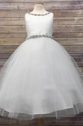 V-Neck Tea-Length Beaded Tulle&Satin Flower Girl Dress