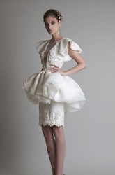 Sheath Knee-length Short Sleeve Jewel Appliques Ruffles Peplum Organza Lace Homecoming Dress