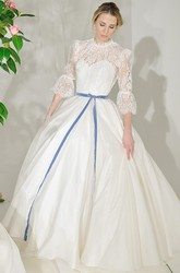 High Neck Maxi Lace Puff-Sleeve Satin Wedding Dress