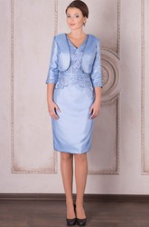 Pencil Knee-Length V-Neck Half Sleeve Appliqued Satin Mother Of The Bride Dress