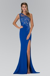 Sheath Long One-Shoulder Sleeveless Jersey Dress With Split Front And Appliques