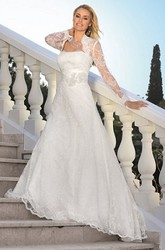 A-Line Long Strapless Long-Sleeve Lace Wedding Dress With Appliques And Cape