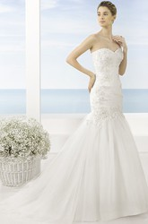 Mermaid Sweetheart Ruched Tulle Wedding Dress With Sweep Train