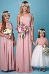 One-Shoulder Pleated Sleeveless Chiffon Bridesmaid Dress