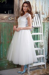 A-Line Tea-Length V-Neck Appliqued Cap-Sleeve Tulle&Lace Wedding Dress