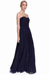 Sheath Sweetheart Sleeveless Ruched Long Chiffon Bridesmaid Dress With Pleats