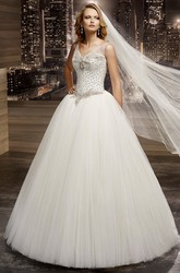 V-Neck Beaded A-Line Bridal Gown With Illusion Straps