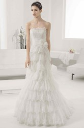 Scalloped Neck Lace Ball Gown With Waist Flower And Layered Skirt