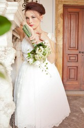 Jewel Empire Knee-Length Lace Wedding Dress With Ruching And Cap Sleeve