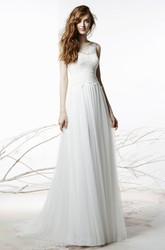 Scoop Long Appliqued Bowed Tulle Wedding Dress With Sweep Train And Illusion
