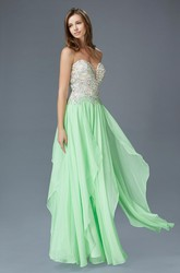 A-Line Long Sweetheart Sleeveless Chiffon Lace-Up Dress With Beading And Draping
