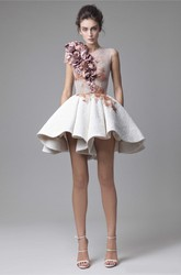 Two-Tone Modern Sleeveless Jewel-Neck Short Skirt Illusion Delicate Flowers For Prom