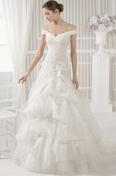 Ball Gown Maxi Off-The-Shoulder Appliqued Tulle Wedding Dress