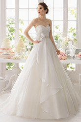 Ball Gown Sweetheart Organza Wedding Dress With Criss Cross And Draping