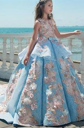 Luxury Floral Sleeveless Ruched Ball Gown Flower Girl Dress