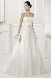 Strapless Lace Bridal Gown With Removable Long-Sleeve Jacket