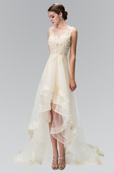 A-Line High-Low Scoop-Neck Sleeveless Tulle Dress With Beading And Ruffles