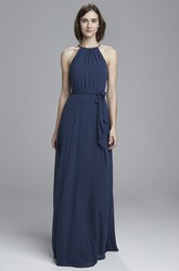 Sheath Floor-Length Sleeveless Ruched High-Neck Chiffon Bridesmaid Dress With Draping