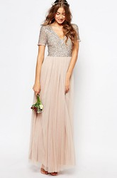 Ankle-Length V-Neck Sequined Short Sleeve Tulle Bridesmaid Dress With Pleats